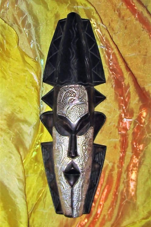 Unique African Wood mask with tin design