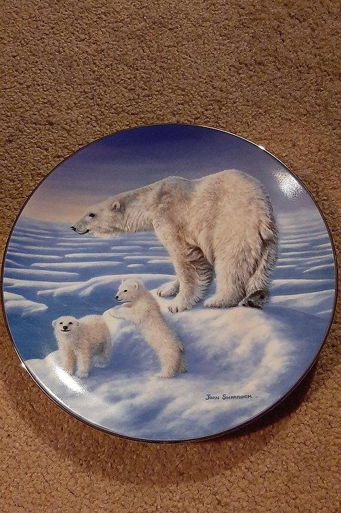 Polar bear family collectable plate