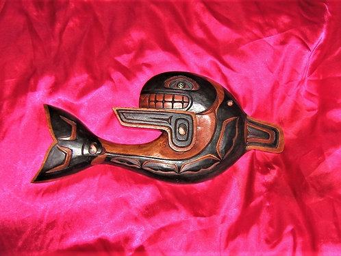 Orca wood carving