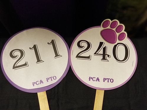 Quarter Auction Paddle Numbers 211 through 240