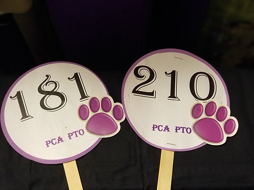Quarter Auction Paddle Numbers 181 through 210
