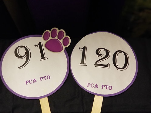 Quarter Auction Paddle Numbers 91 through 120