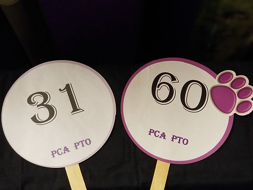 Quarter Auction Paddle Numbers 31 through 60