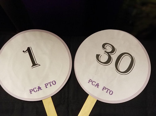 Quarter Auction Paddle Numbers 1 through 30