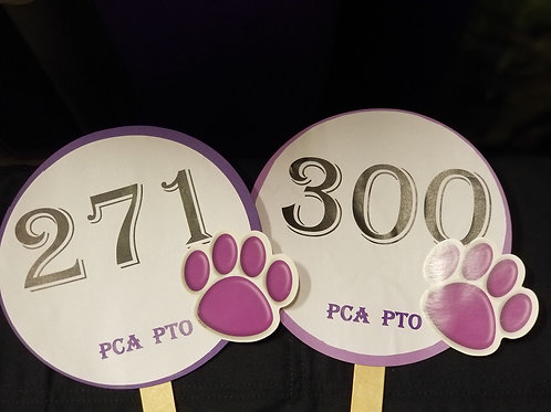 Quarter Auction Paddle Numbers 271 through 300