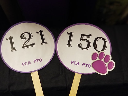 Quarter Auction Paddle Numbers 121 through 150
