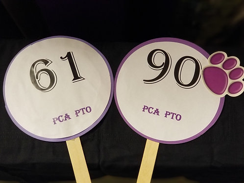 Quarter Auction Paddle Numbers 61 through 90