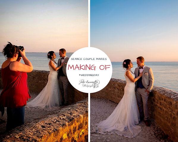 Coulisse d'une photographie de mariage charente