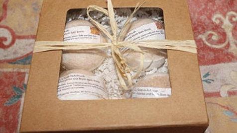 Frankincense and Myrrh Four Piece Bath Bomb Gift Set