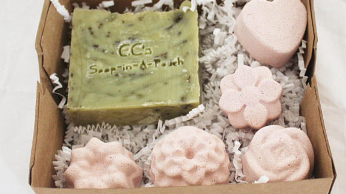 Natural Peppermint Tea Soap with Mint Shower Steamers Gift Sett