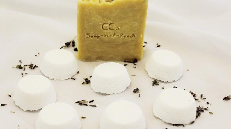 Natural Lavender Buds Soap with Mint and Lavender Shower Steamers Gift Set