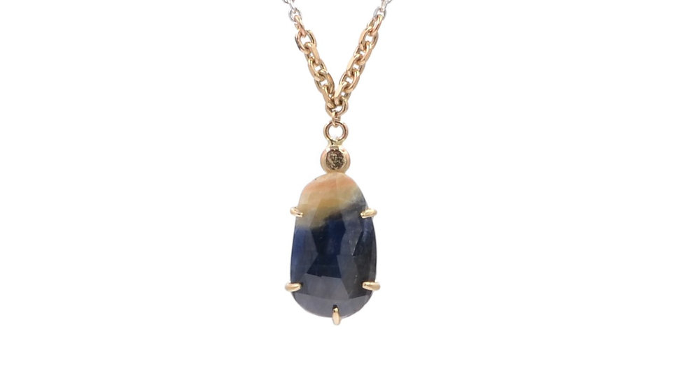 Blue and Gold Sapphire Necklace