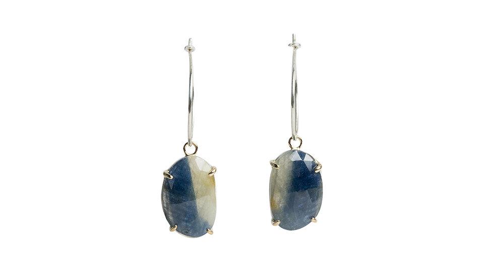 Oval Bi-Color Sapphire Earrings