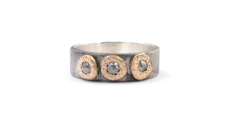 Rose Cut Diamond Trio Ring