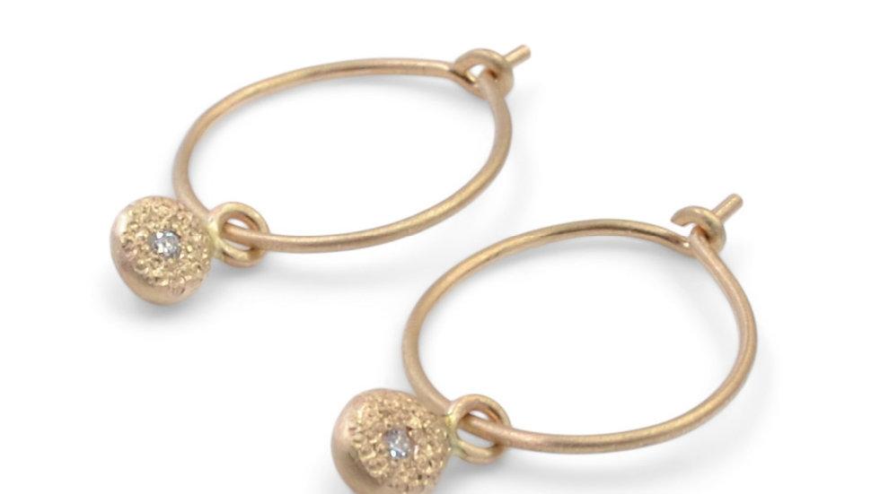 Drop Of Gold Diamond Dangle Earring