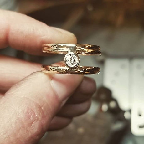 Made into one ring...._3 rings and a dia