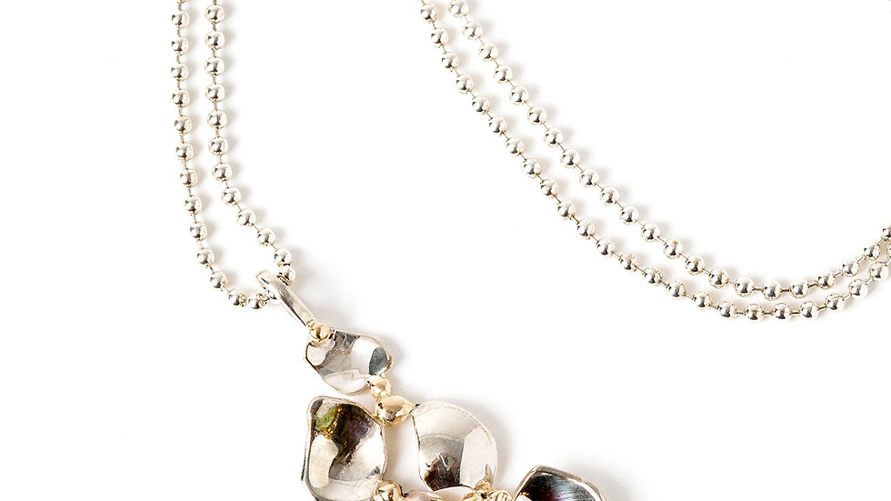 STERLING SILVER PEBBLE NECKLACE WITH RECYLED GOLD ACCENTS