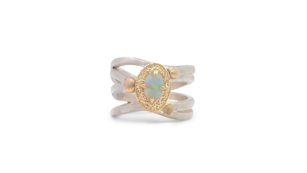 Crystal Opal Wide Flowy Ring