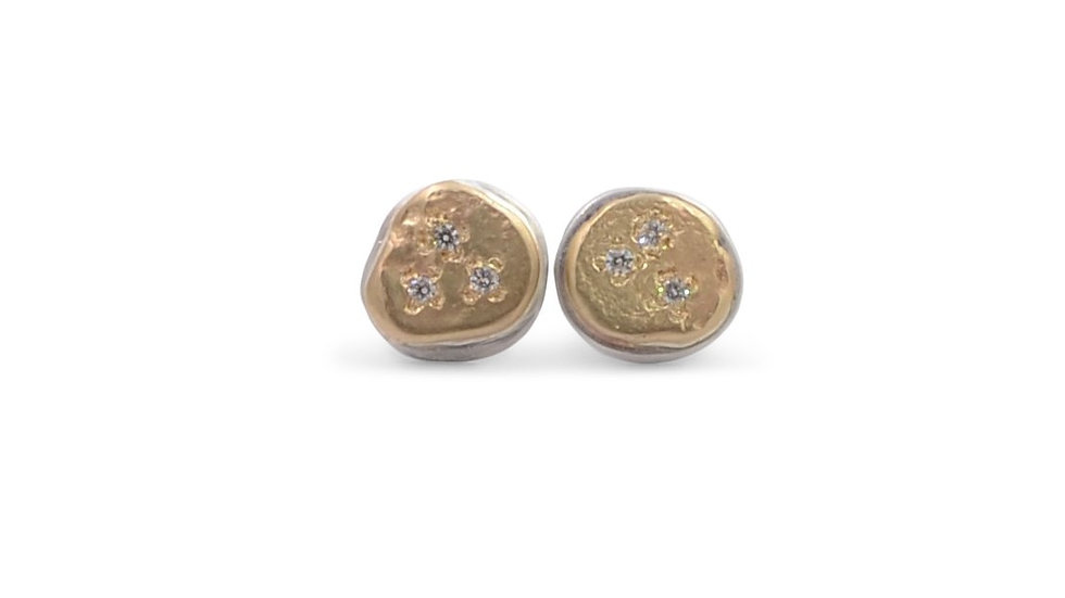 Diamond Sprinkles on Gold and Silver Studs