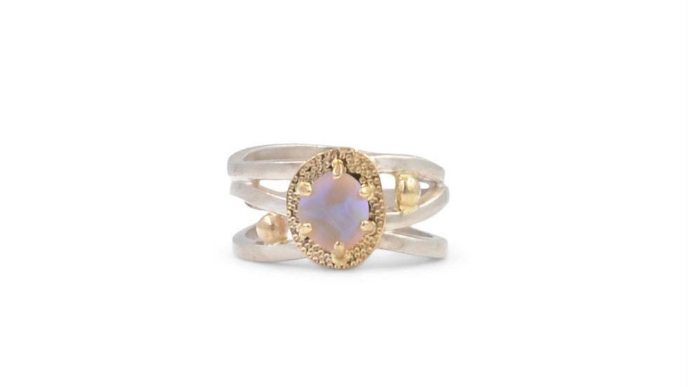 Crystal Opal Flowy Three Row Ring