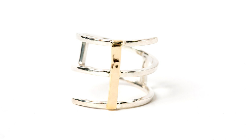 TWIST RING STERLING WITH A GOLD BAR