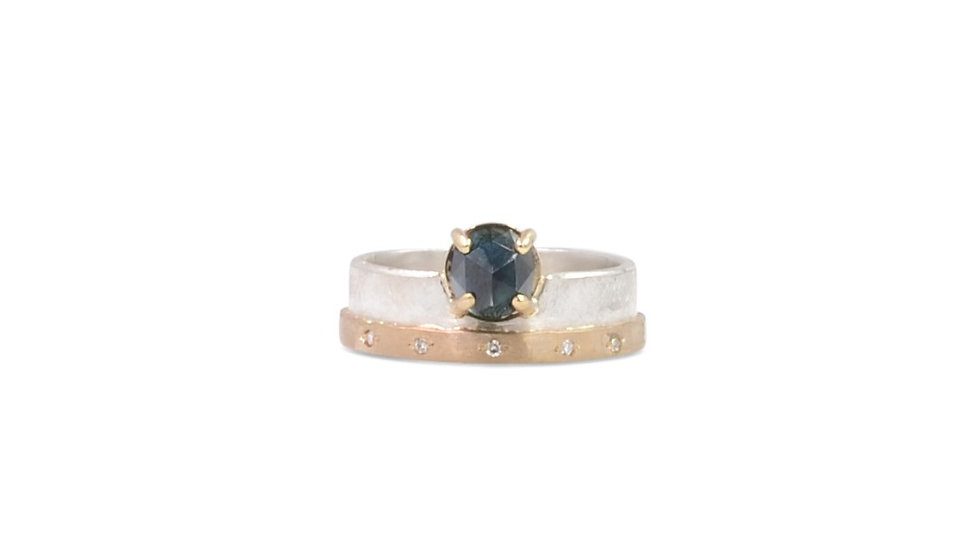 Rose Cut Sapphire Two Tone Layered band
