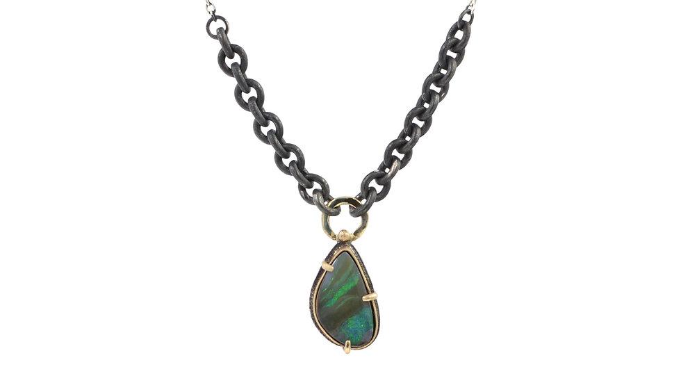 Deep Blue-Green Boulder Opal Pendant