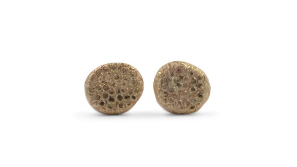 Dots Textured in Gold Stud Earrings
