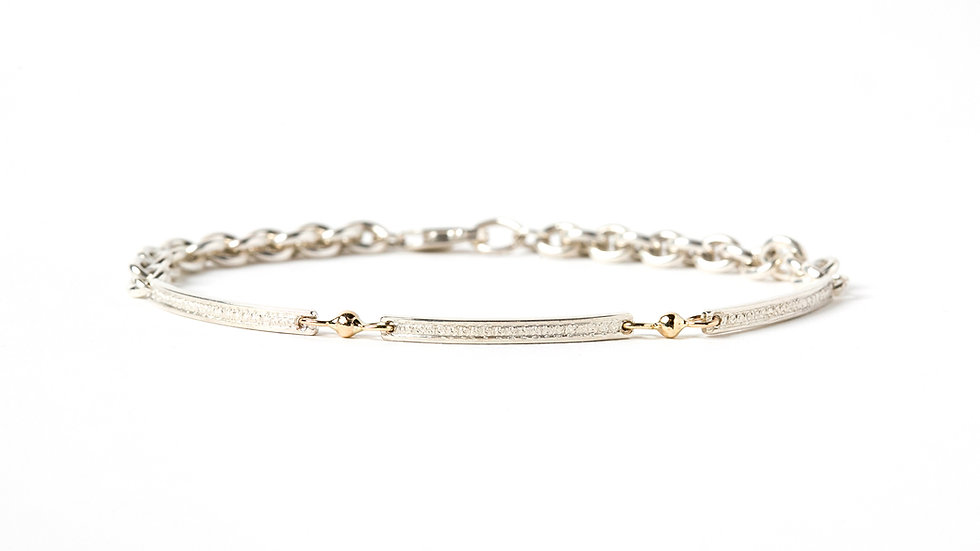 Textured Bars With Gold Balls Linked Bracelet