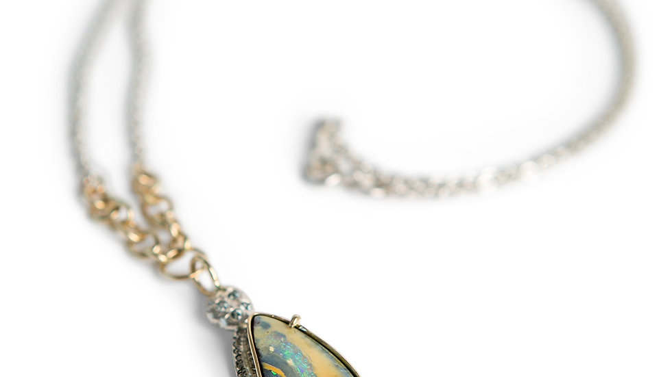Boulder Opal Pendant in Silver and Gold