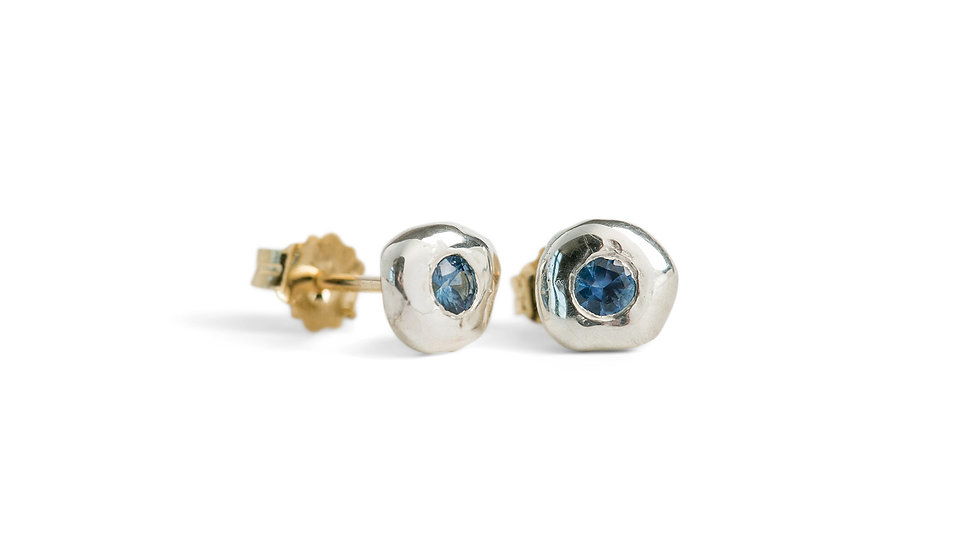 Silver Pebble Earrings with Montana Sapphires
