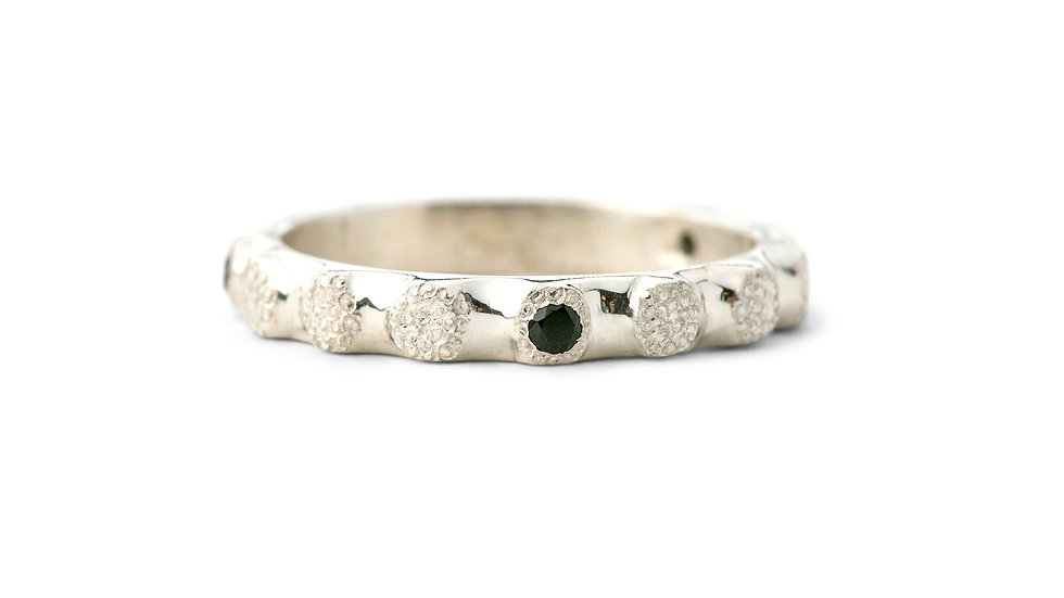 Beaded & Textured Ring With Black Spinels