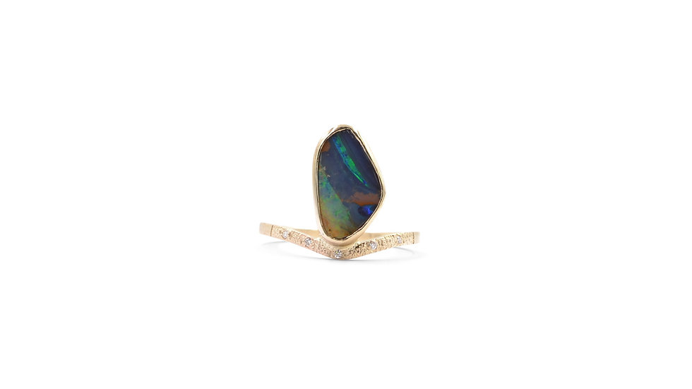 Boulder Opal Ring...Be Bold In 14K Yellow Gold