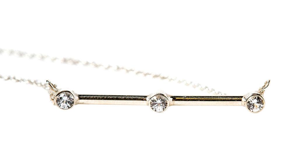 White Sapphire 3-Stone Pendant