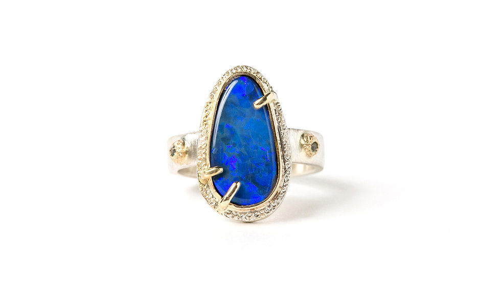 BOULDER OPAL RING WITH MONTANA SAPPHIRES