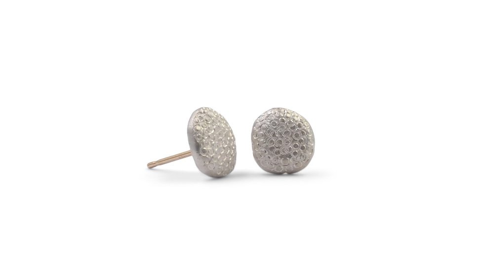 Dots Textured in Silver Stud Earrings