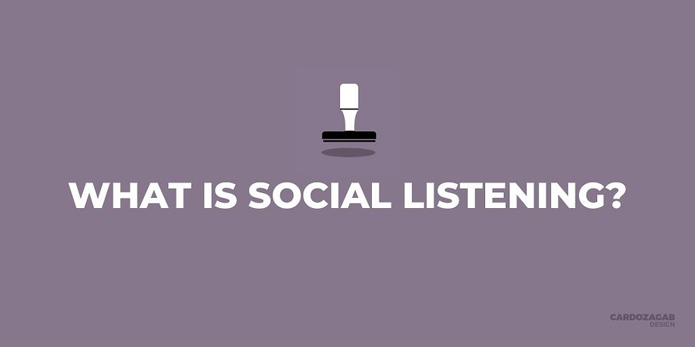 """""""Purple image that reads 'what is social listening?' with a stamp icon above it and the CardozaGab logo in the corner."""""""