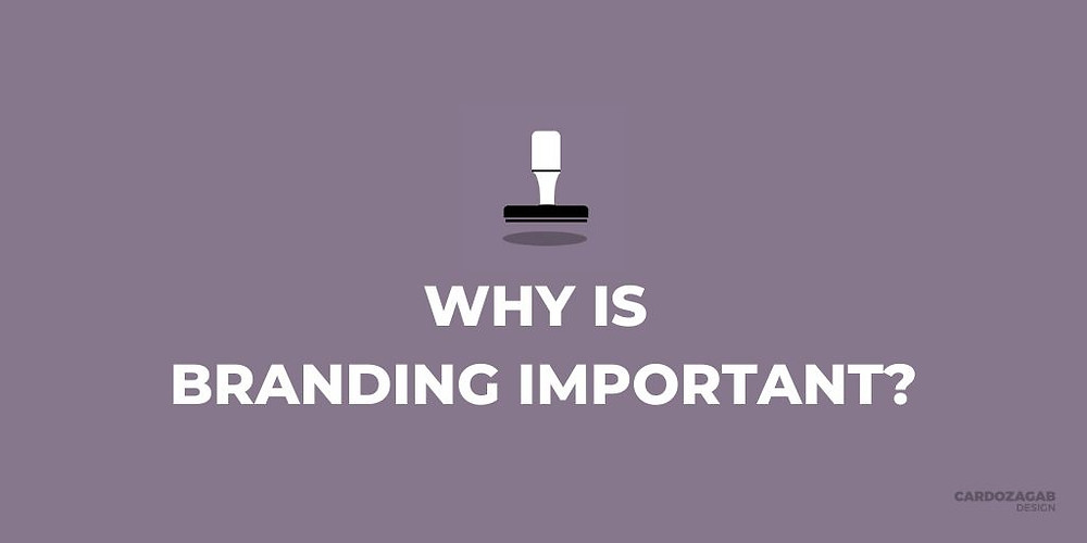 """Purple graphic that reads 'why is branding important?' with a stamp icon above it and the CardozaGab logo in the corner."""