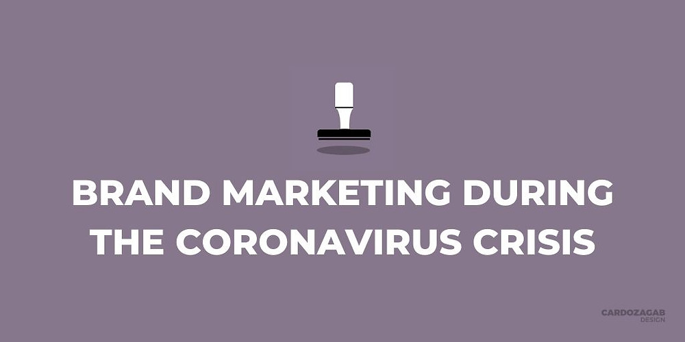 "Alt example: ""Purple graphic that reads 'Brand marketing during the coronavirus crisis' with a stamp icon above it and the CardozaGab logo in the corner."""