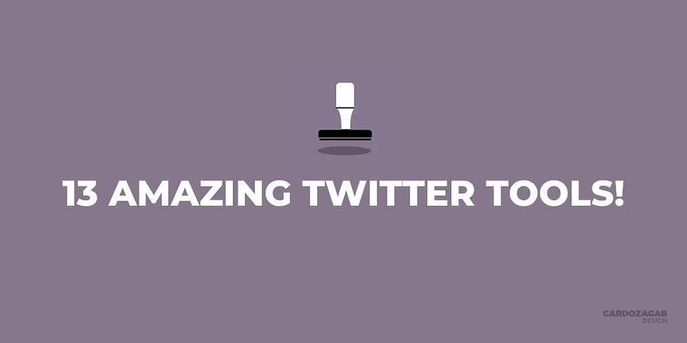 """Purple graphic that reads '13 Amazing Twitter Tools!?' with a stamp icon above it and the CardozaGab logo in the corner."""