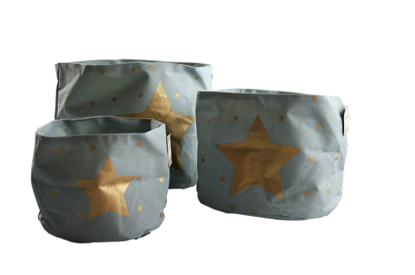 Ceste azzurre con stelle dorate, taglia small, medium e large.