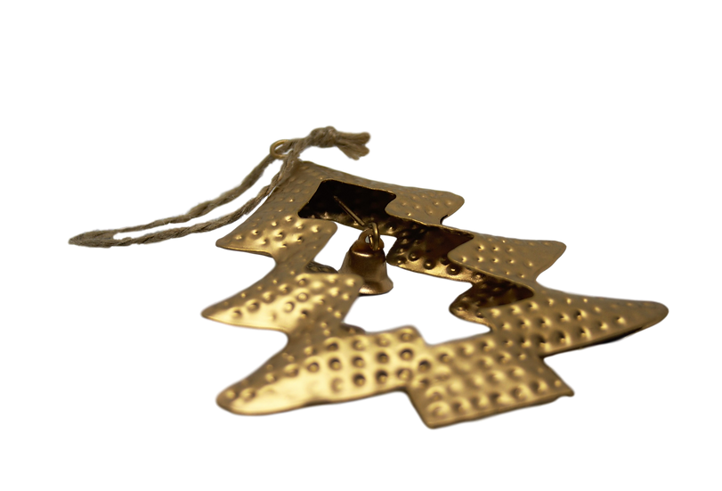 Decoro albero in metallo dorato effetto spazzolato a forma di albero di natale