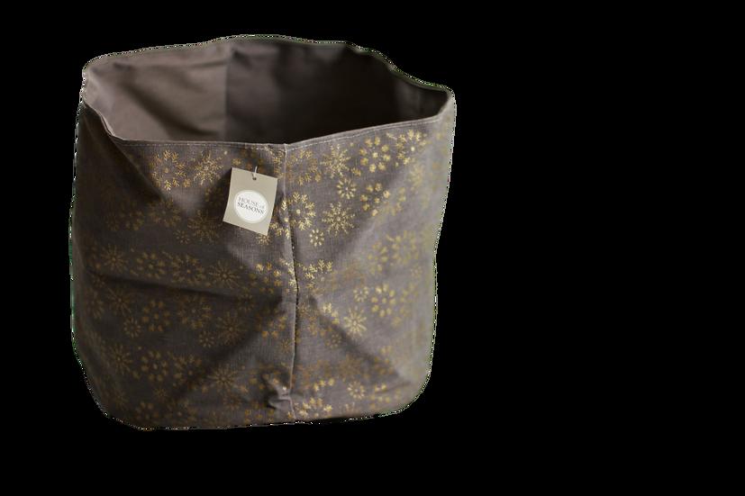 Cesta impermeabile impreziosita da decori dorati, perfetta come cache-pot ma anche per contenere i doni di babbo natale