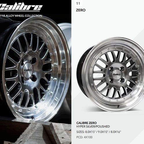 "Calibre SubZero deep dish polished silver alloy wheels available in 15"" and 16"""
