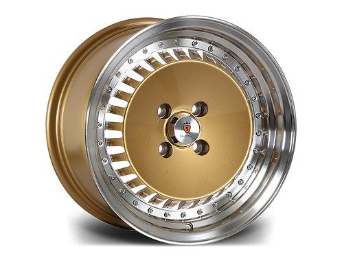 Stuttgart ST4 15x8J 4x100 alloy wheels Polished silver / gold / black