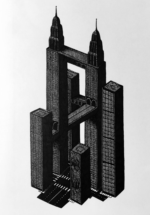 Impossible Building Complex – ink on paper