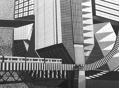 Urban Warp – marker on illustration board