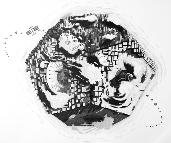 Small World – ink and marker on paper