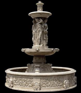 Brunnen mit reich verziertem Becken