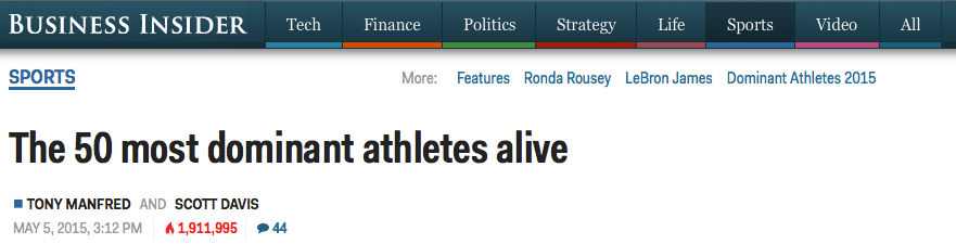 Business insider: The 50 most dominant athletes alive